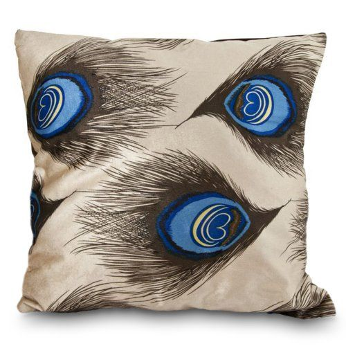 Find it at the Foundary - 17 x 17 in. Blue-Yellow and Brown Peacock Pillow- loving peacock stuff lately