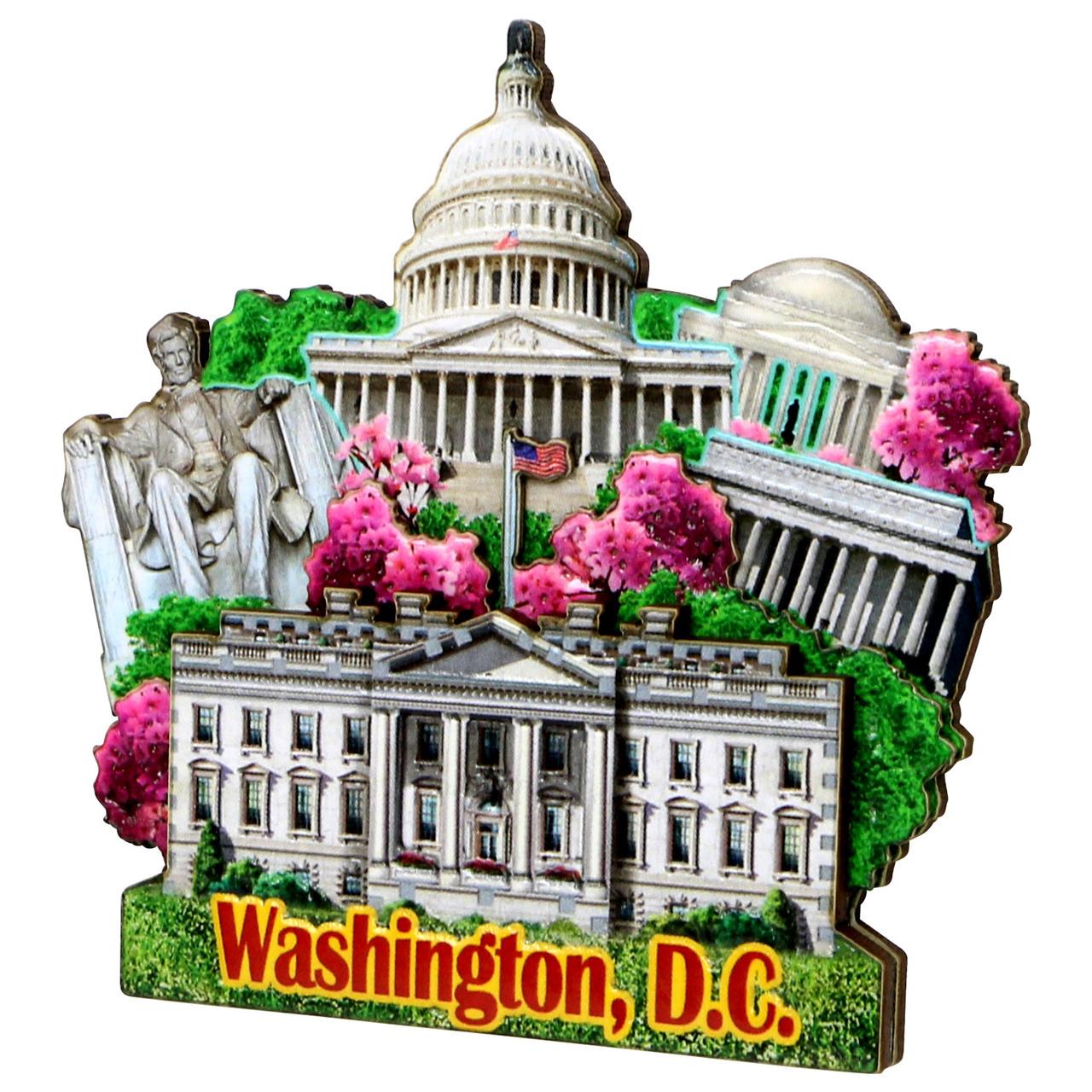 3d Washington Dc Magnet Made Featuring Capitol Building White House Lincoln Memorial Washington Monument And Jef Washington Dc Washington Jefferson Memorial