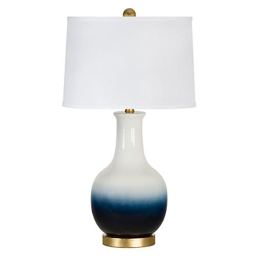 Madison table lamp navy white ombré