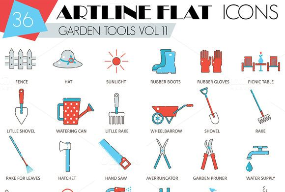 36 Garden tools flat line icons.  @creativework247