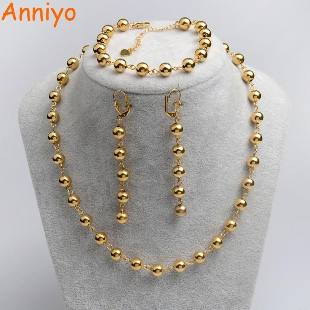 Anniyo Gold Color Rosary Jewelry sets Ball Bead Necklace/Earrings/20CM Bracelet for Women Arab/Africa Ethiopian Jewelry #069006 #rosaryjewelry