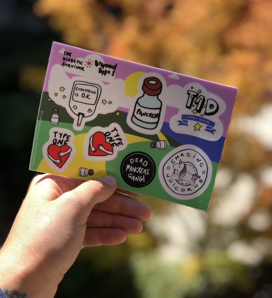 Stickers designed by the diabetic survivor for beyond type 1 this limited edition sticker