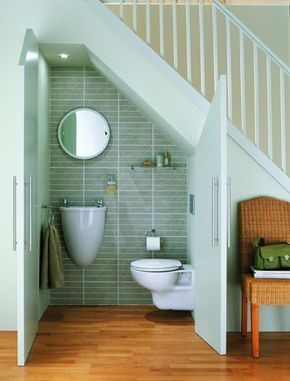 Squeeze in a neat cloakroom - hallway, under the stairs toilet, ideas for an… #downstairsloo
