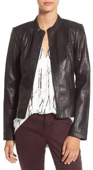 Halogen ® Raw Edge Pieced Leather Jacket (Regular & Petite)