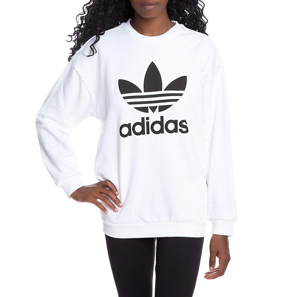 Women S Trefoil Crewneck Sweatshirt White Sweatshirts Crewneck Sweatshirt Women Adidas Sweatshirt Women [ 1000 x 1000 Pixel ]