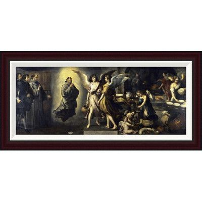 """Global Gallery La Cuisine Des Anges by Bartolome Esteban Murillo Framed Painting Print Size: 16"""" H x 34"""" W"""