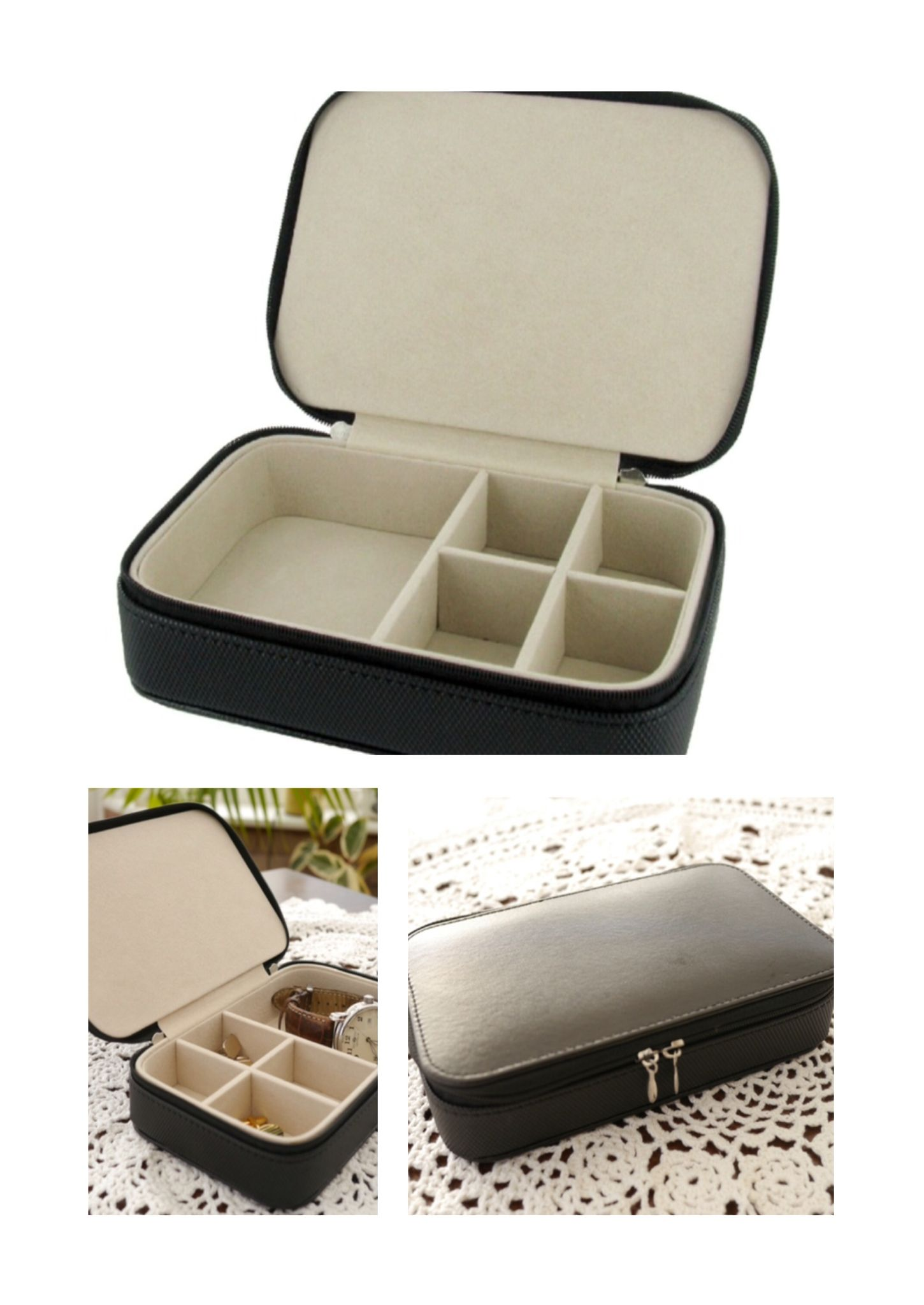 A Lovely Leather Travel Jewellery Box Complete With Fabric Lining