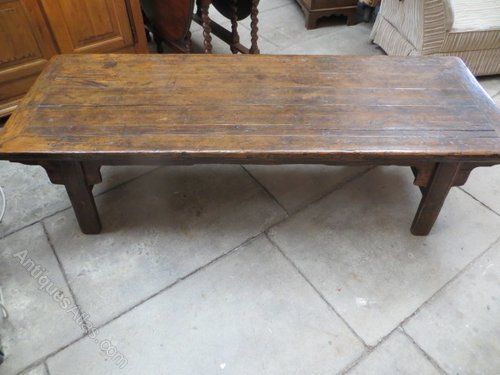 Coffee Table Antique Pine Rectangle Long Brown Varnished Wooden With Four Legs Atlas Old Vintage Design Ideas Furniture Collection