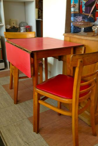 Vintage Retro Red 1950s 60s Formica Drop Leaf Dining Table