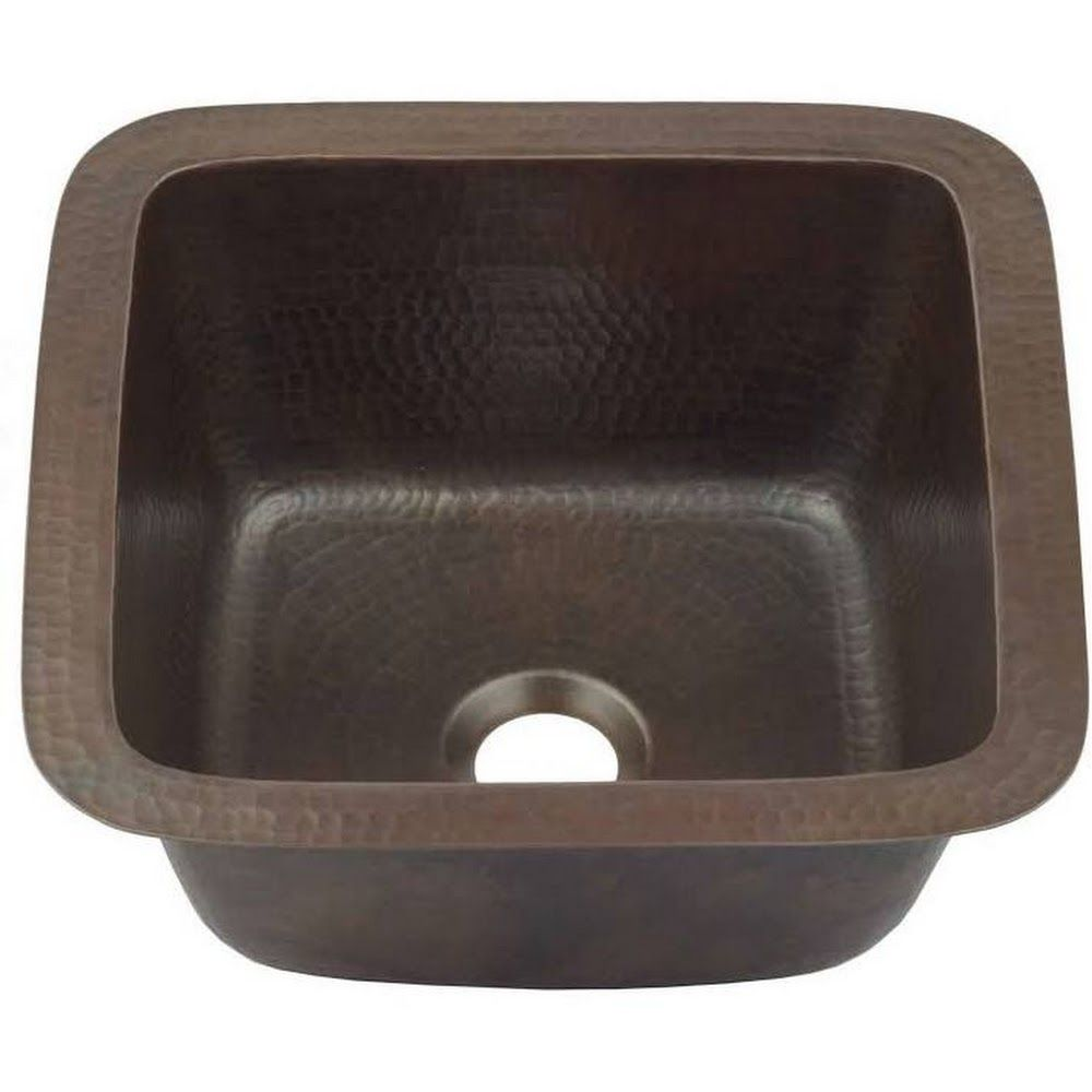 Sinkology Greco Drop In Or Undermount Copper 15 In Handmade Solid Perp Bar Sink In Aged Finish Sp501 15ag Bar Sink Sink Sink In