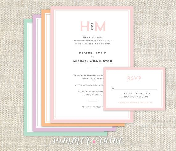 Simple and elegant wedding invitation, classic feel with your custom colors! Shown here in blush, peach, lilac and mint.