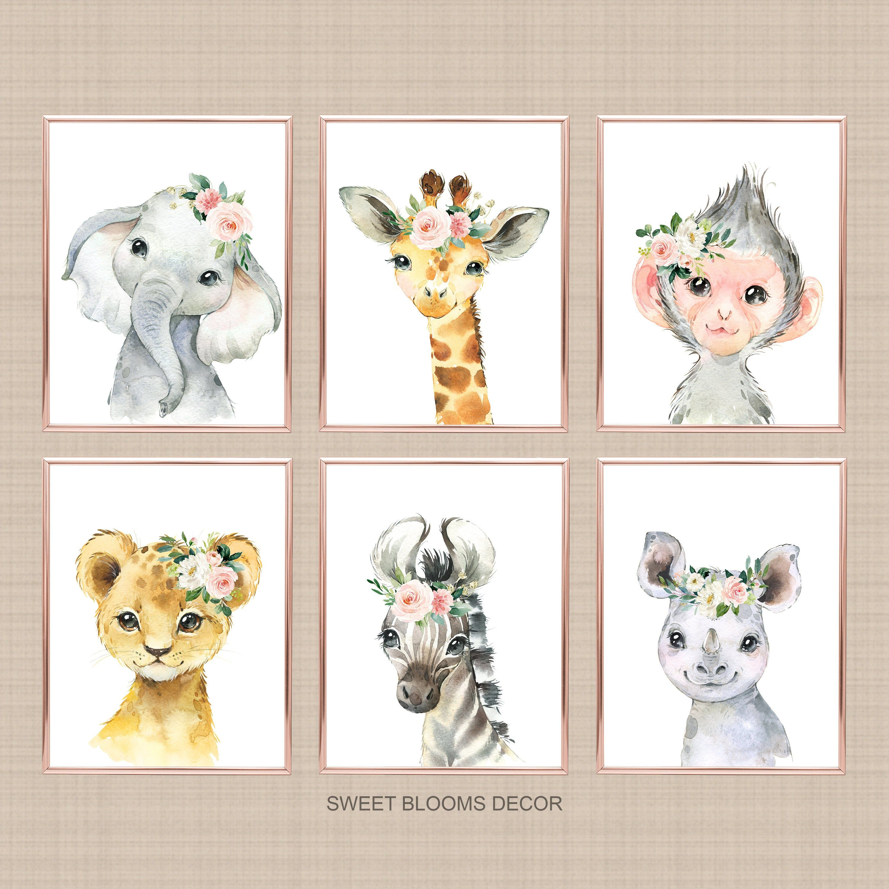 Safari Animals Girl Nursery Wall Art Watercolor Pink Coral Etsy Nursery Wall Art Girl Safari Animals Nursery Animal Baby Room