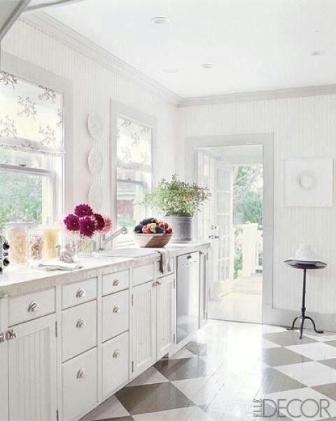 Con piso damero | Cocina | Pinterest | Pisos, Cocinas y Cocina blanca