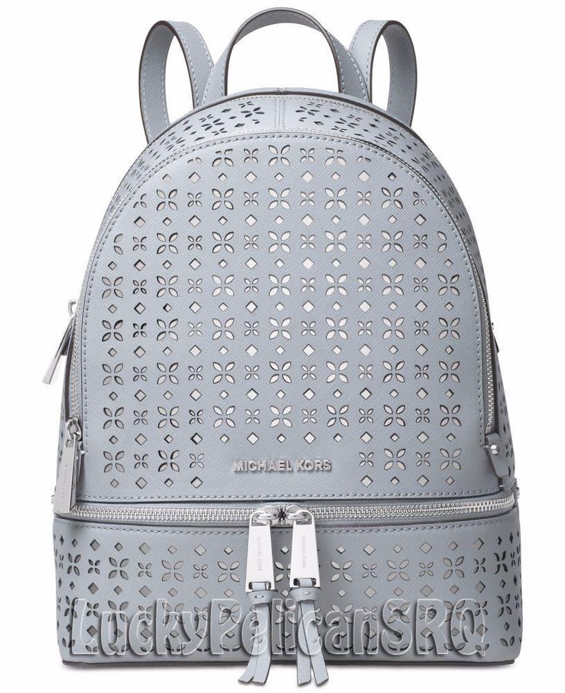 a60ba69bb89cf9 Michael Kors Rhea Zip Medium Backpack Bag Saffiano Dusty Blue NWT # MichaelKors #Backpack
