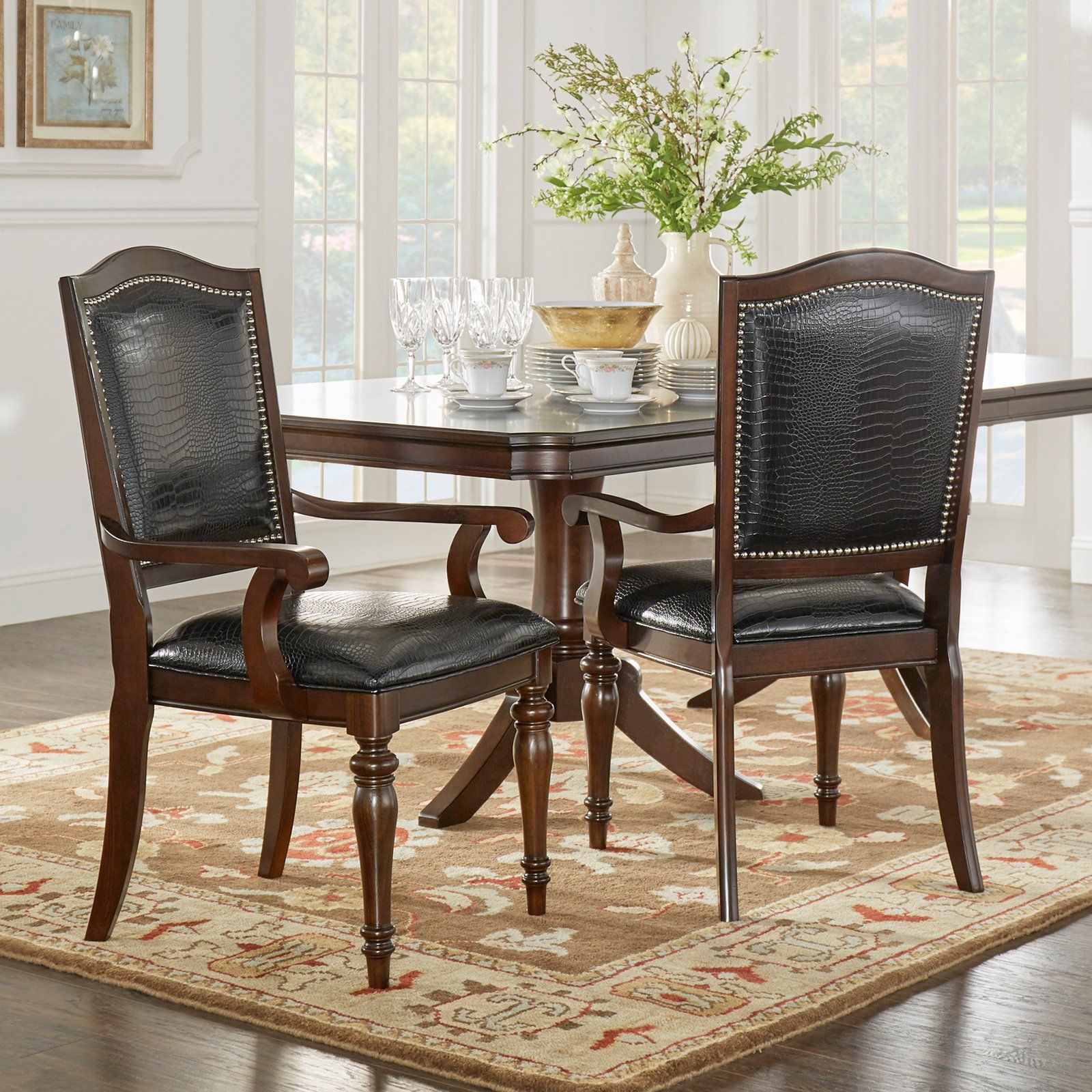 Nailhead dining chairs dining room Grey Homelegance Marston Alligator Faux Leather Nailhead Dining Arm Chair Set Of Kitchen Dining Room Chairs At Hayneedle Pinterest Homelegance Marston Alligator Faux Leather Nailhead Dining Arm Chair