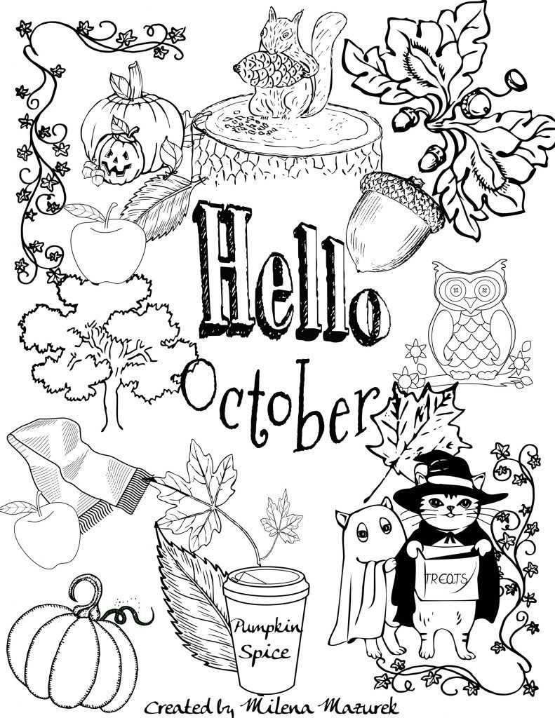 October Coloring Pages Free Hello October Coloring Page ...