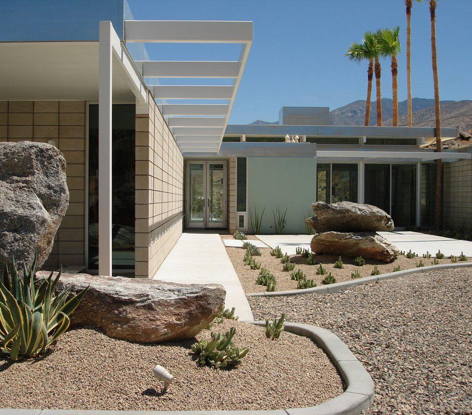 HOME ENTRY Modern Home Palm Springs Desert Landscape Round