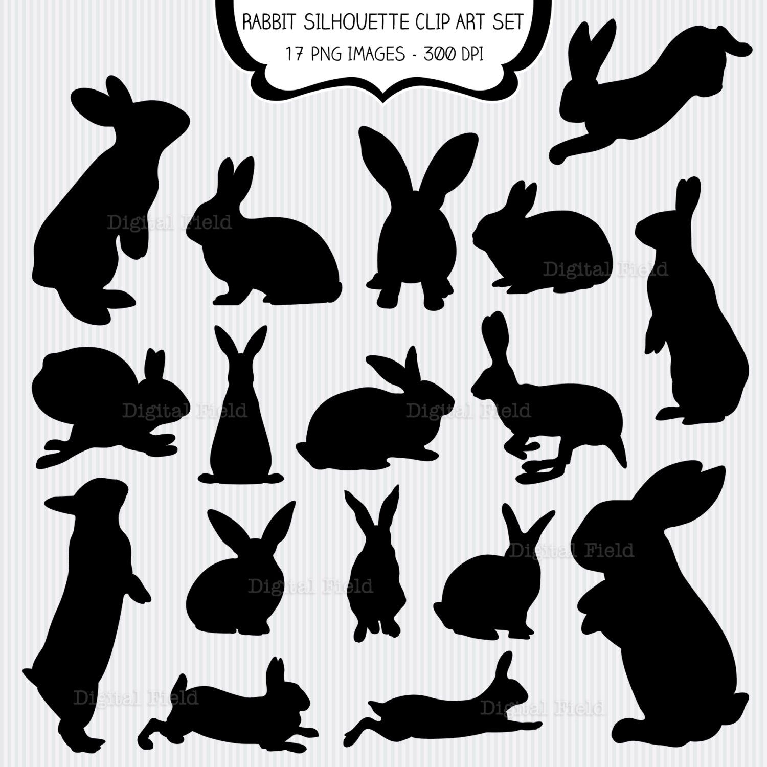 Rabbit Silhouette Clip Art Set Easter Bunny Printable Digital Clipart Instant Download By Digitalf Rabbit Silhouette Silhouette Clip Art Bunny Silhouette
