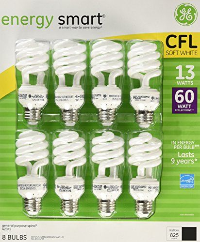 Ge 13watt Energy Smart Fluorescent Light Bulbs 8 Pack 60 Watt Replacement Details Can Be Found With Images Fluorescent Light Bulb Fluorescent Light Light Bulb Wattage