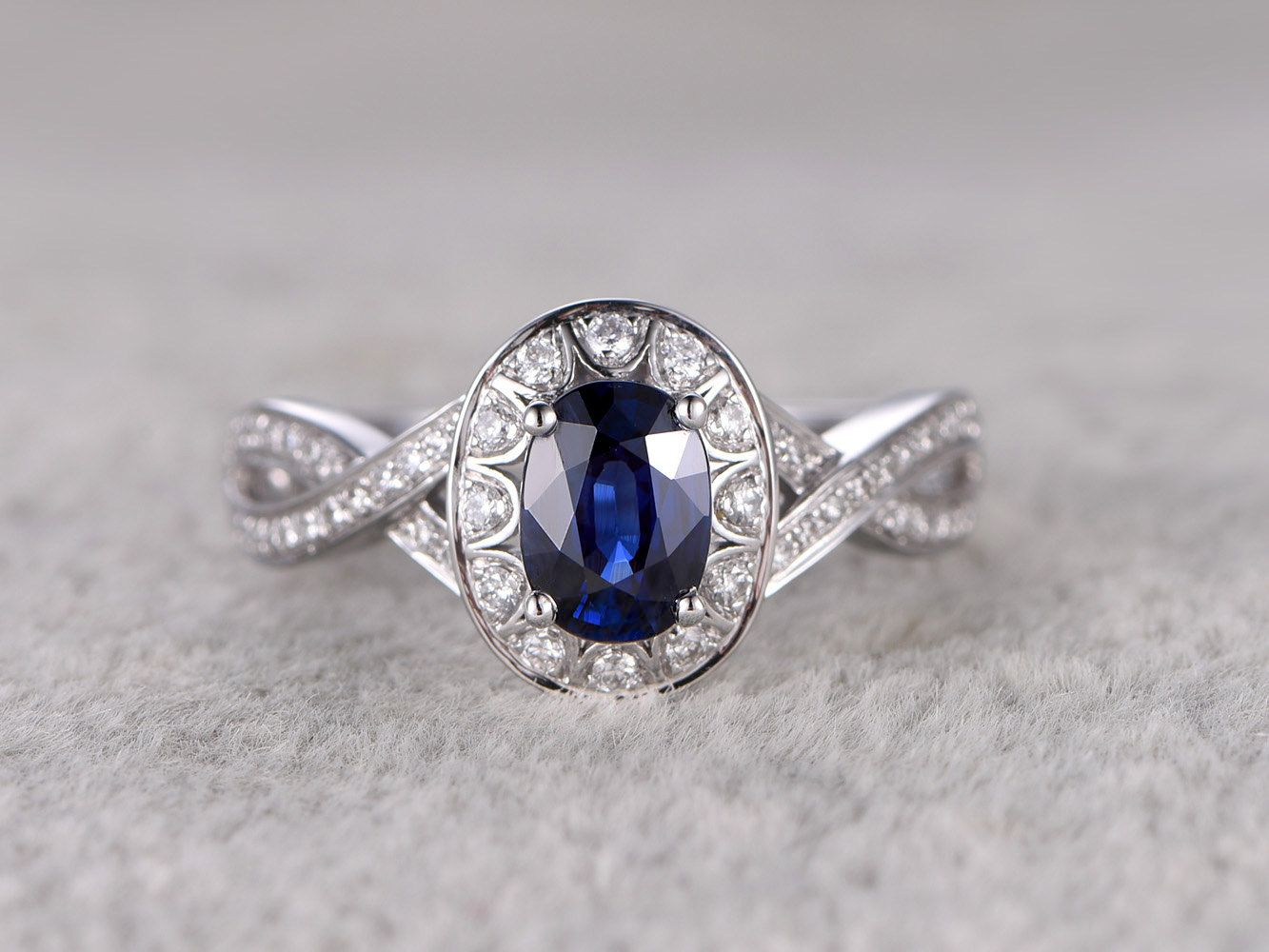 Natural Shire Engagement Ring 1 18ctw Blue Stone Curved Loop Diamond Wedding Band 14k White Gold