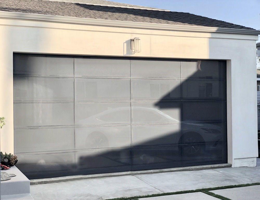 Gray Modern Frameless Glass Garage Door Moderno 8 X 7 D Glass Garage Door Garage Doors Modern Garage