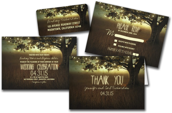 wedding cards and gifts string of lights rustic wedding invitations - Lantern Wedding Invitations