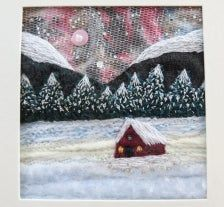Moonlit winter cabin embroidered fibreart Northern Lights | Etsy