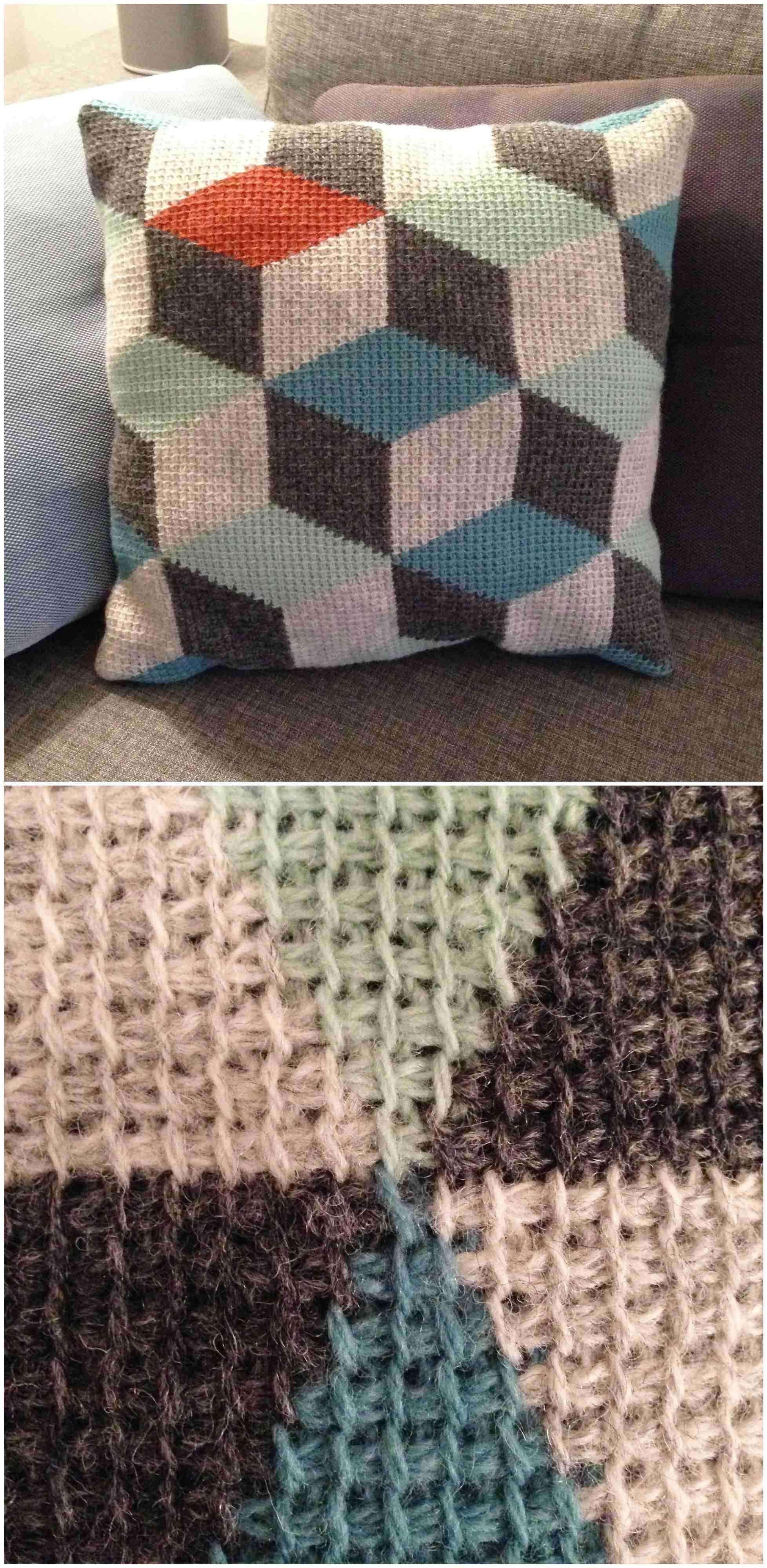 Tunisian crochet pillow 3D blocks – Craft Ideas #tunisiancrochet