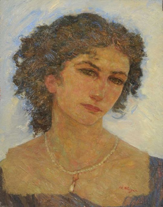 Portrait of a Lady with pearl necklace - Hans Unger 1915 German 1872-1936