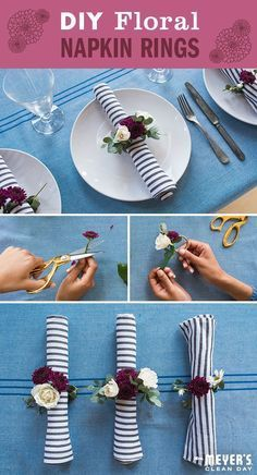 Here's a Home Making DIY idea that will add some floral fun to your next gathering. Anyone can dress up a table with this floral bouquet napkin ring project. Start by by trimming flower stems to about two inches, then tape them onto your napkin ring. There's no right or wrong way to do it, so put as many or as little flowers as your heart desires. To extend their beauty, spray with water and store in a cold room for a few hours before setting out for guests. Click through for the steps.