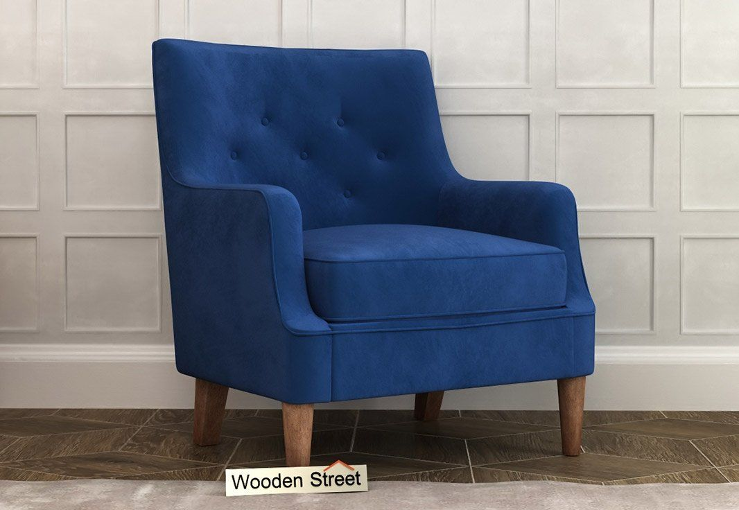 Buy Adoree Lounge Chair Indigo Blue Online In India Wooden Street In 2020 Single Sofa Chair Chair Sofa Chair