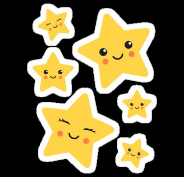 Cute Kawaii Stars Sticker Collection Sticker By Mheadesign Star Stickers Sticker Collection Cute Stickers