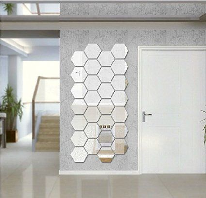 Greatlillian 3D 20 Pieces Hexagons Acrylic Mirror Wall Stickers Decals DIY  Decoration Abstract Art Home Decor