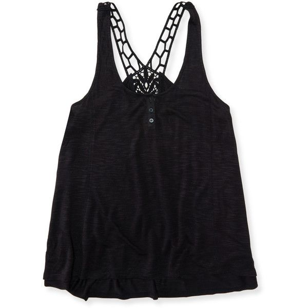 158c5b8a1c65 Aeropostale Crochet Henley Racerback Tank ( 6.99) ❤ liked on Polyvore  featuring tops