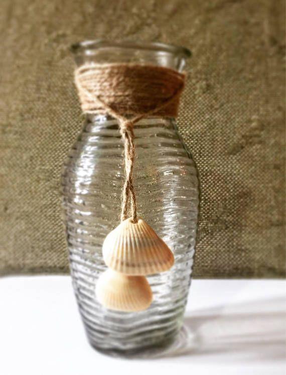 Seashell Vase Coastal Home Decor Glass Vase Wedding Vases Etsy
