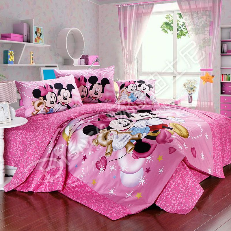 Inspiring Bedroom Design With Cartoon Theme And Wall Shelves Plus Pink Mickey Mouse Bed Set Two Pillows 1 Cushions Furthermore Brown Wooden