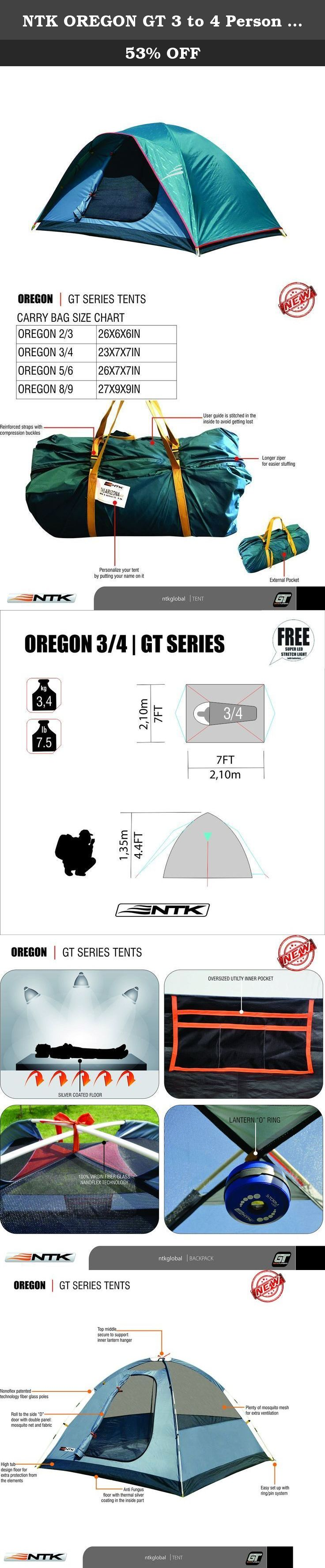 ntk oregon gt 3 to 4 person 7 by 7 foot sport family camping dome tent