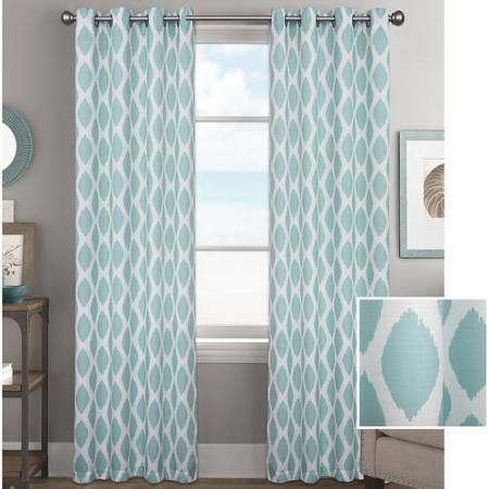 Better Homes And Gardens Basketweave Curtain Panel Aqua