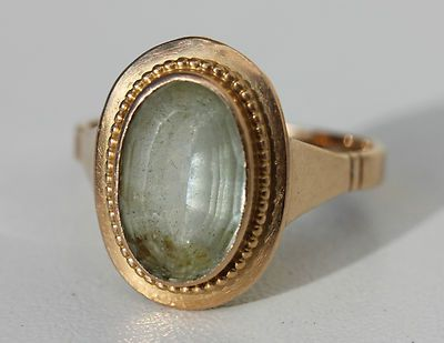 Antique Aquamarine & Yellow Gold Ring  /    BAGUE ANCIENNE SERTIE AIGUE-MARINE - OR JAUNE 750/1000 TETE D'AIGLE - 5,60 g