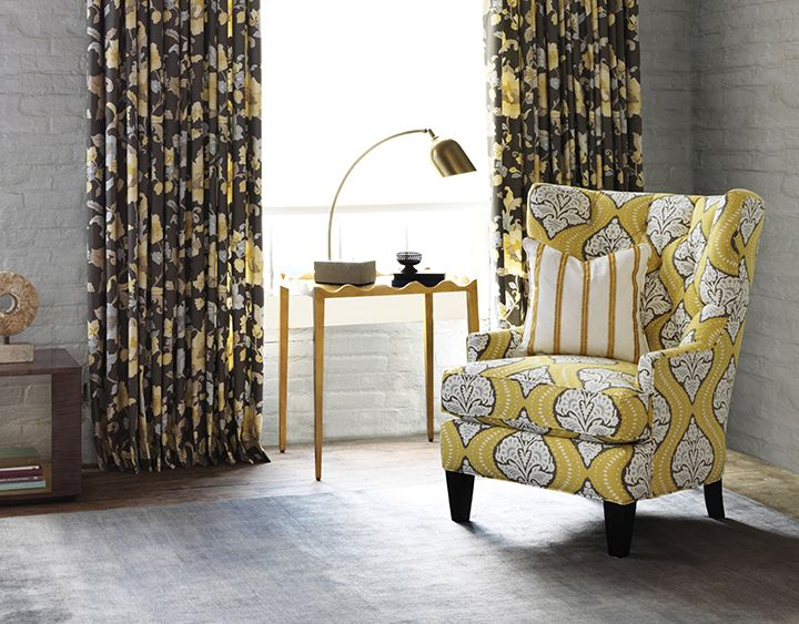 Robert Allen Winston Chair Covered With Dwell Studio Fabric Kavali Ogee In Dandelion