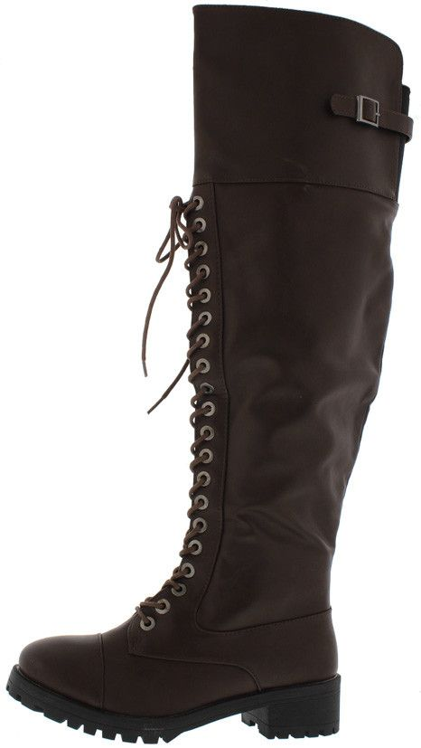 COMMANDER BROWN PU KNEE HIGH COMBAT LUG BOOT ONLY $25.88