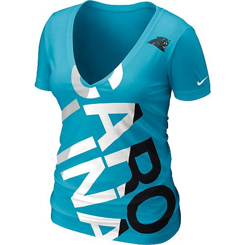Nike NFL Carolina Panthers Off Kilter Women's V-Neck Tee Shirt