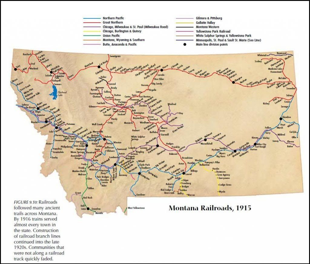 Montana Railroads 1915 Winifred Is Branch Terminus Of