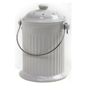 Norpro 1 Gallon Ceramic Compost Keeper White Amazon Com Kitchen Dining Compost Pail Compost Bucket Compost Bin
