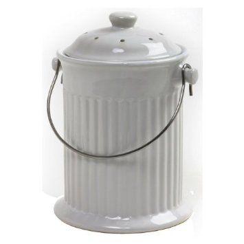 Norpro 1 Gallon Ceramic Compost Keeper White Amazon Com Kitchen Dining Compost Pail Compost Bucket Compost Bin