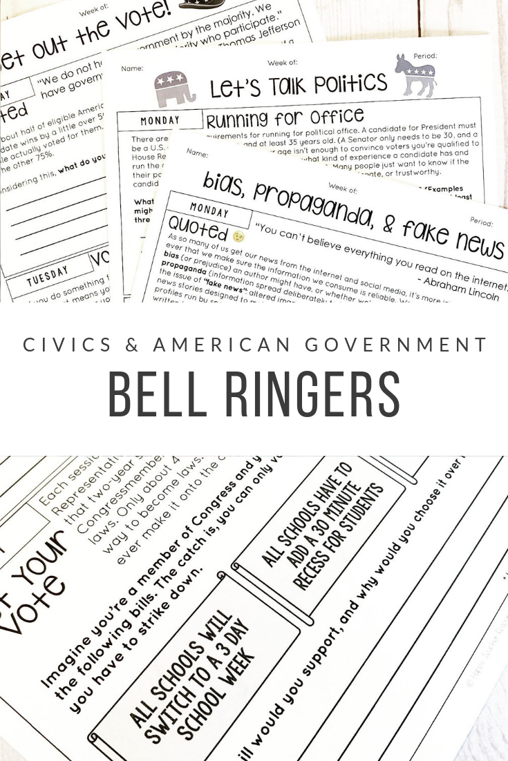 Standards-Based Bell Ringers for Civics & American