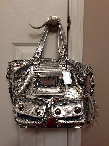 Exclusive Coach Poppy Silver Sequin Bag Love