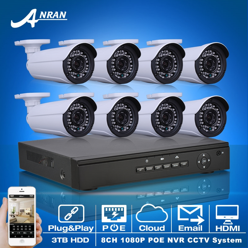 818.36$  Watch now - http://aim66.worlditems.win/all/product.php?id=32595710569 - Plug And Play 1080P HD H.264 25fps 36IR CCTV POE Camera Kit Email Alarm Onvif 8CH NVR Security Surveillance POE System 3TB HDD