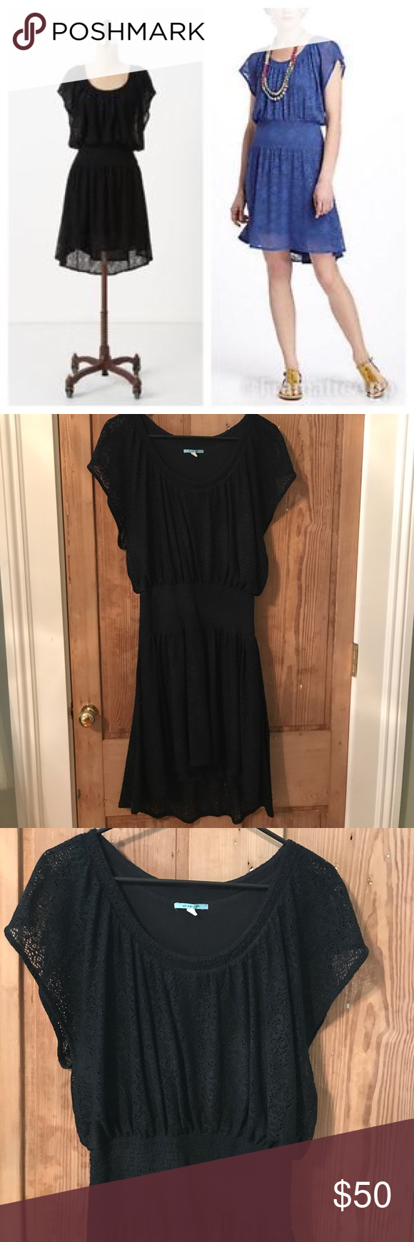 4198b8428576a Black High low Leifnotes Dress Anthropologie LEIFNOTES Black eyelet lace  Short Sleeve smocked high low dress size small. Gently worn no flaws.