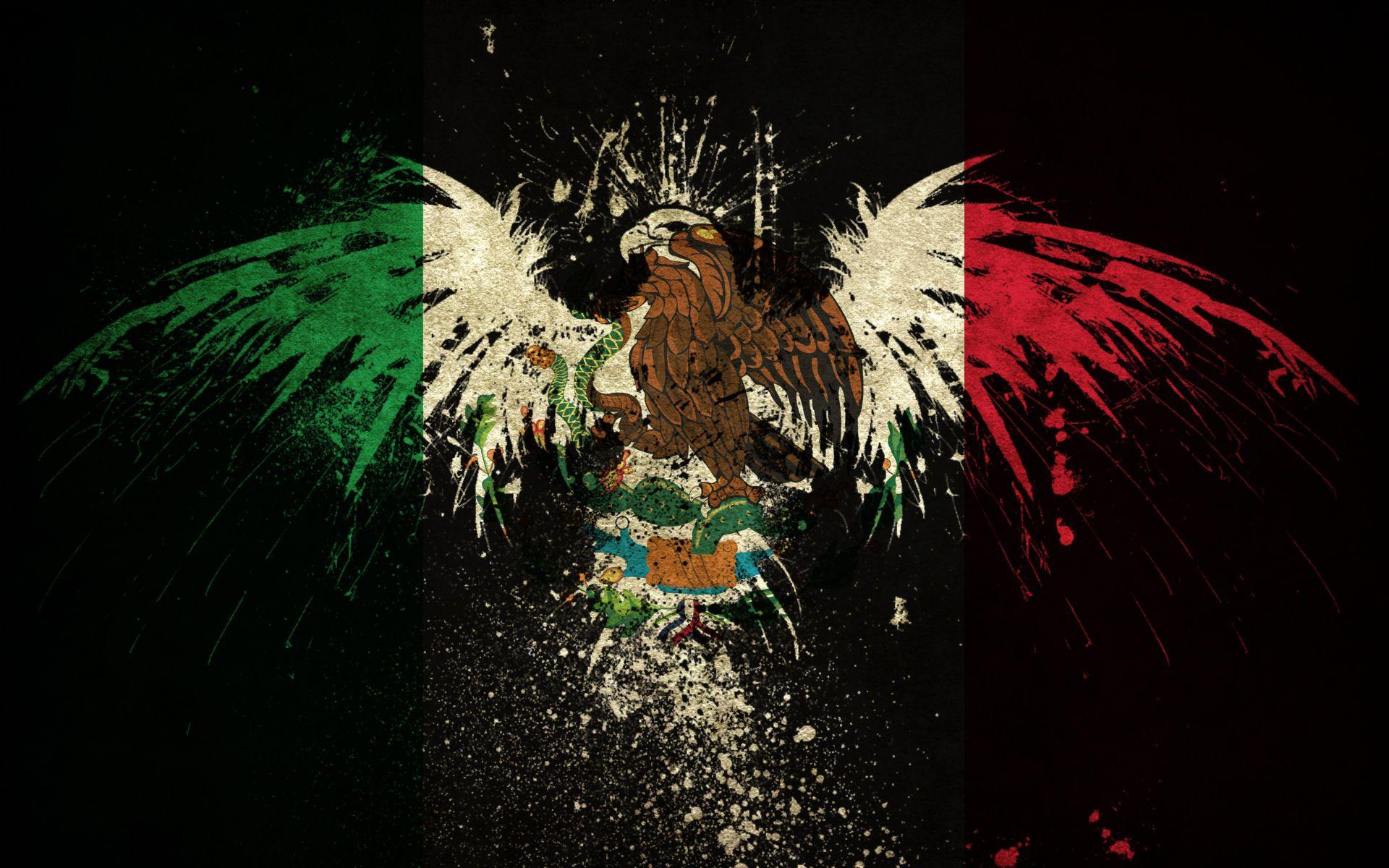 Mexico Flag Eagle Wallpaper Pinturas mexicanas, Dibujos